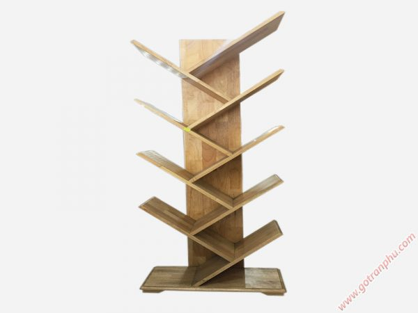 Kệ sách gỗ cao su kiểu xương cá 9 tay KS025 (1)