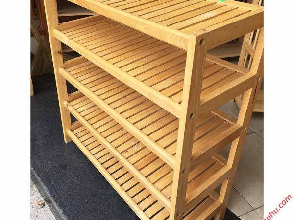 Kệ giày dép gỗ cao su 5 tầng ngang 80cm KD009 (5)