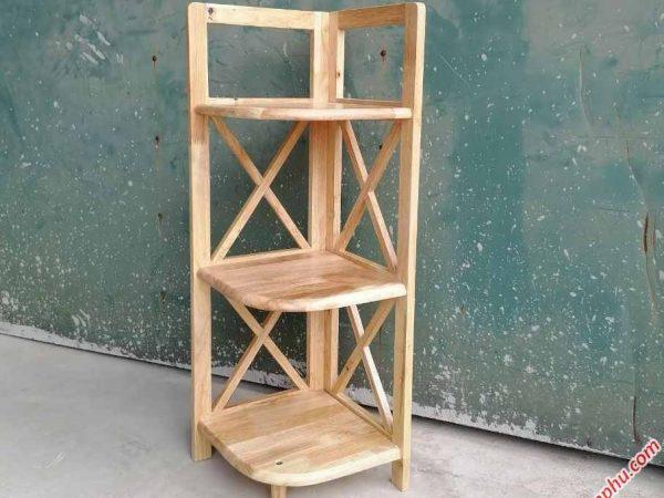 Kệ góc (nhỏ) 3 tầng gỗ cao su KS036 (2)