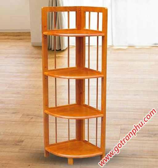 Kệ góc (nhỏ) 4 tầng gỗ cao su KS037 (1)