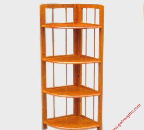 Kệ góc (nhỏ) 4 tầng gỗ cao su KS037 (2)