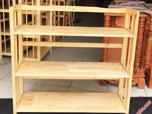 Kệ sách gỗ cao su 3 tầng ngang 90cm (4)