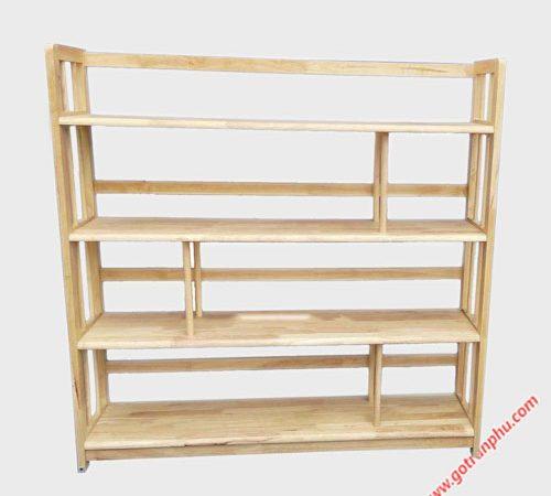Kệ sách gỗ cao su 4 tầng ngang 1m