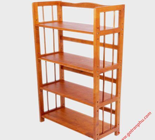 Kệ sách gỗ cao su 4 tầng ngang 80cm KS010