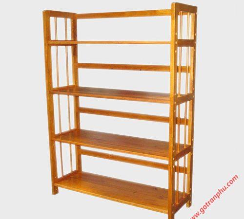 Kệ sách gỗ cao su 4 tầng ngang 90cm KS011
