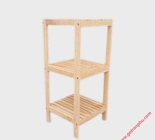 Kệ trang trí 3 tầng gỗ cao su KS033 (1)