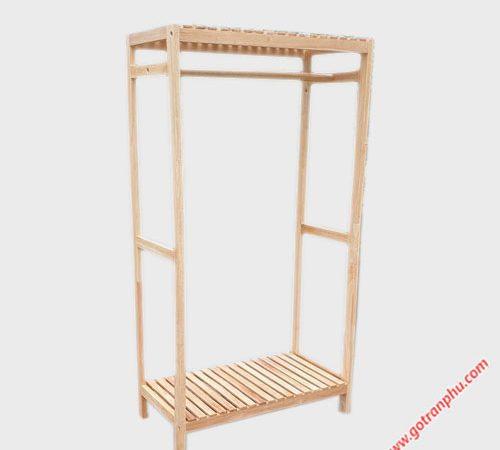 Kệ treo quần áo 1 buồng gỗ cao su (2)