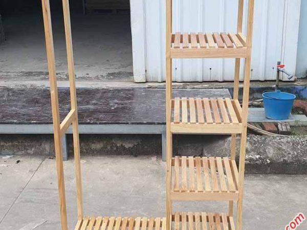Kệ treo quần áo 2 buồng gỗ cao su (1)