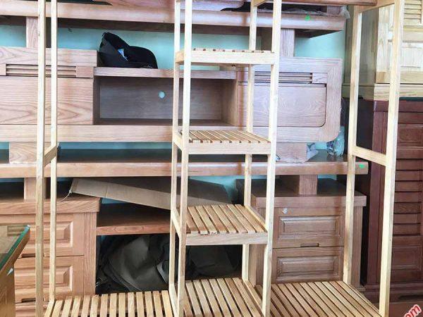 Kệ treo quần áo 3 buồng gỗ cao su (4)
