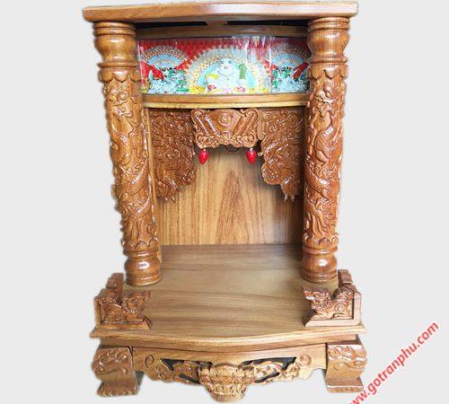 Trang thờ gỗ gõ đỏ 48cm trụ tròn có đèn OD033 (3)