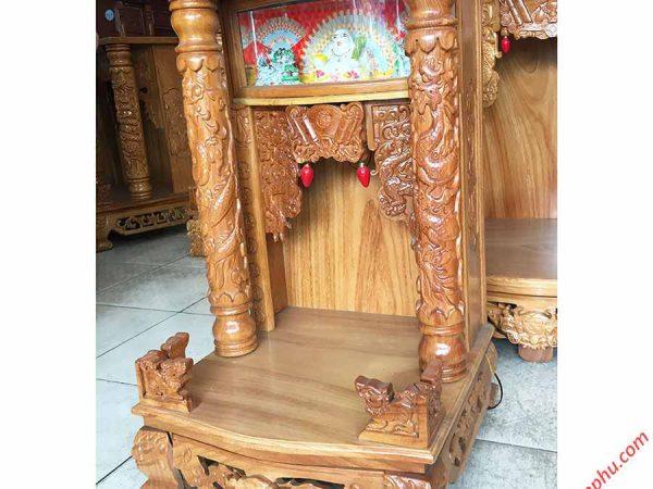 Trang thờ gỗ gõ đỏ 48cm trụ tròn có đèn OD033 (5)