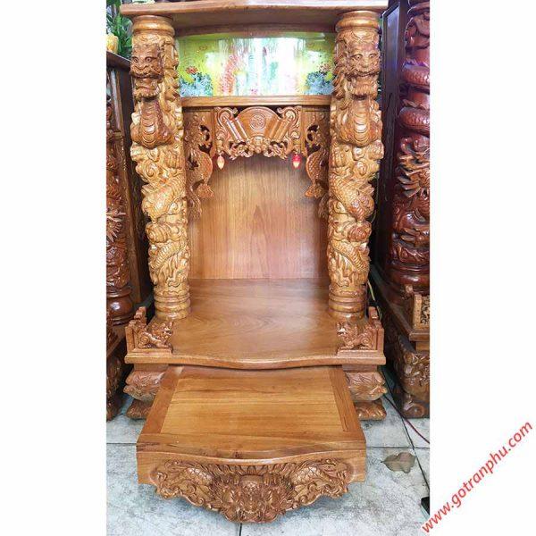 Trang thờ thần tài gỗ gõ đỏ chạm rồng nổi OD022-23 (1)
