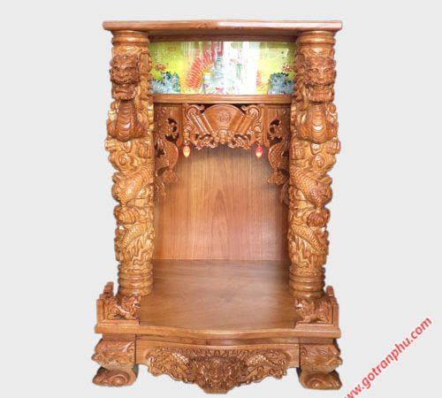Trang thờ thần tài gỗ gõ đỏ chạm rồng nổi OD022-23 (2)