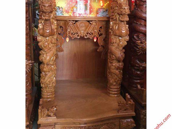 Trang thờ thần tài gỗ gõ đỏ chạm rồng nổi OD022-23 (3)