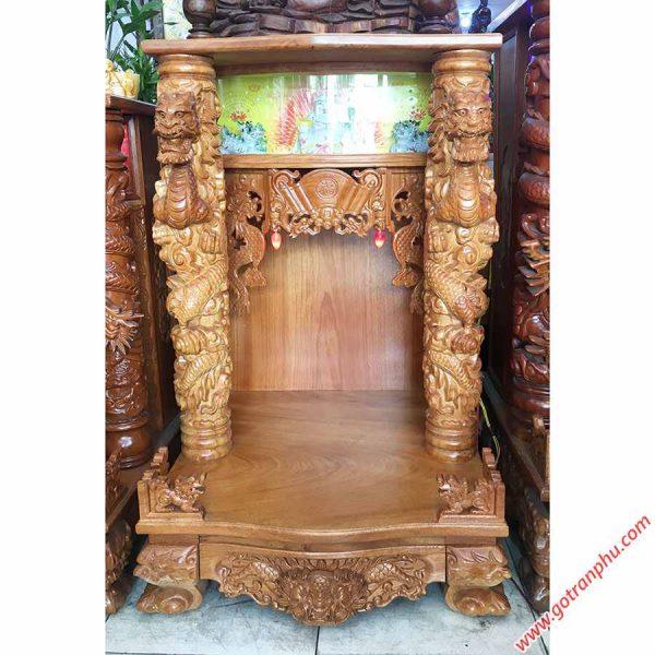 Trang thờ thần tài gỗ gõ đỏ chạm rồng nổi OD022-23 (4)