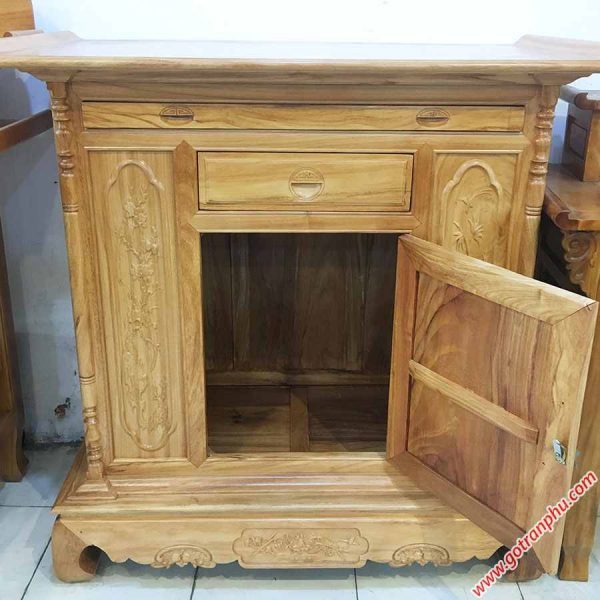 Tủ thờ gỗ Gõ Đỏ kiểu lùn 1m27-1m54 TT003-04 (1)