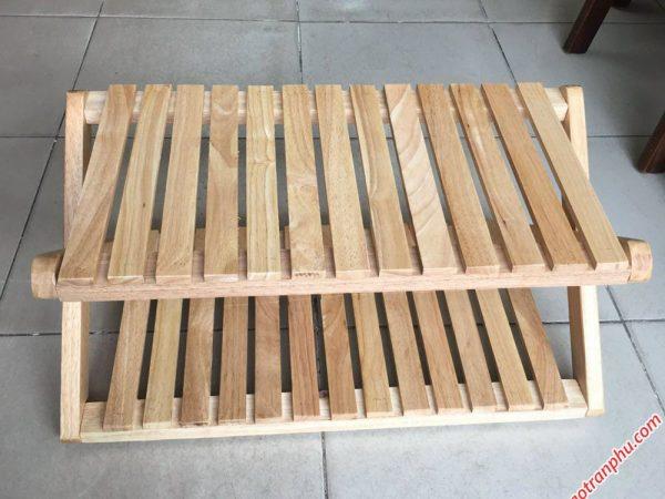 Kệ dép chữ X gỗ cao su 2 tầng KD020 (3)