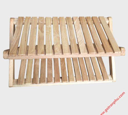 Kệ dép chữ X gỗ cao su 2 tầng KD020 (6)