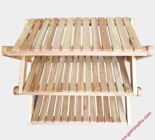 Kệ dép chữ X gỗ cao su 3 tầng KD021 (1)