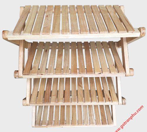 Kệ dép chữ X gỗ cao su 4 tầng KS022 (3)