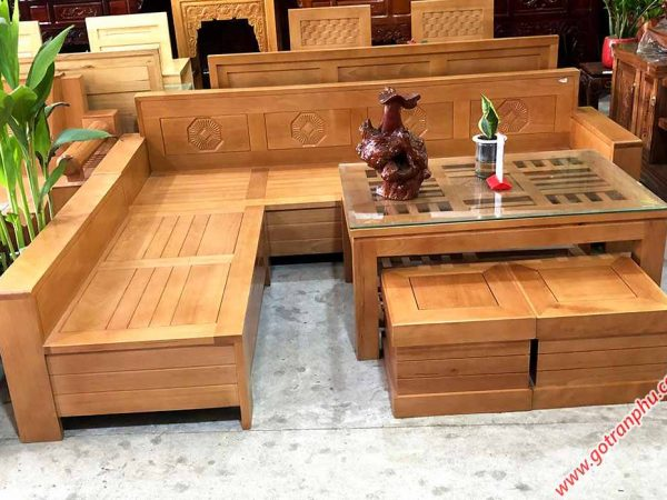 Sofa góc gỗ Bích mặt bàn kính vuông SF034 (1)