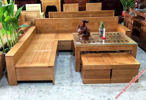 Sofa góc gỗ Bích mặt bàn kính vuông SF034 (2)