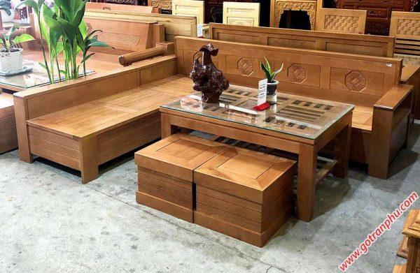 Sofa góc gỗ Bích mặt bàn kính vuông SF034 (3)