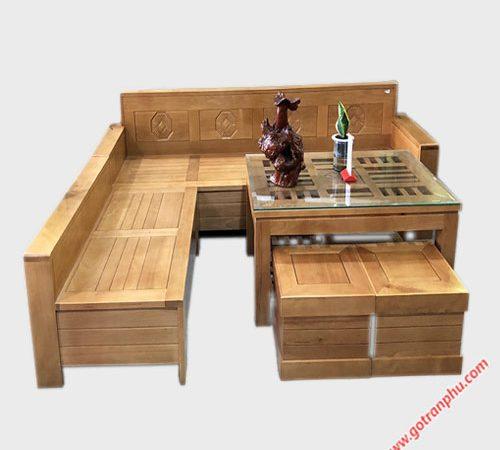 Sofa góc gỗ Bích mặt bàn kính vuông SF034 (4)
