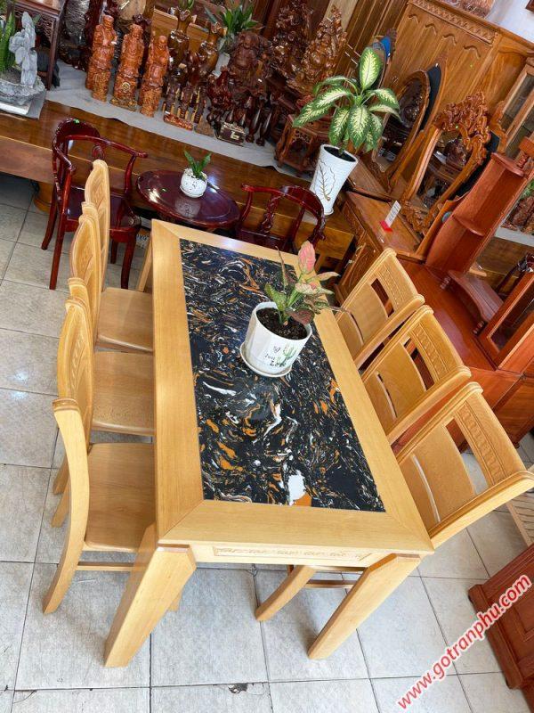 Bộ bàn ăn gỗ Bích mặt đá 1m6 BA053 (1)