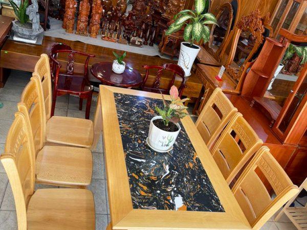 Bộ bàn ăn gỗ Bích mặt đá 1m6 BA053 (2)