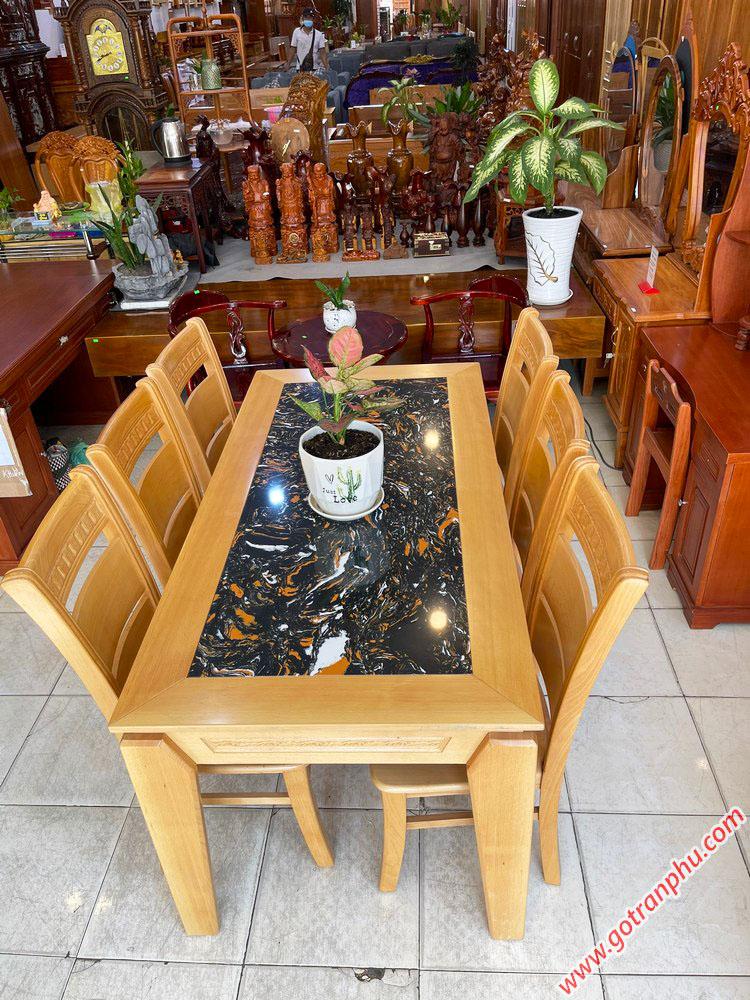 Bộ bàn ăn gỗ Bích mặt đá 1m6 BA053 (4)