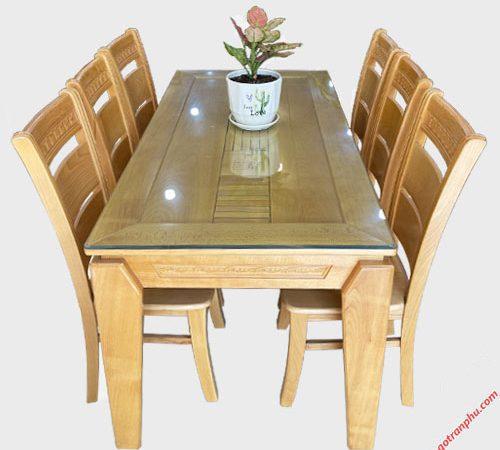 Bộ bàn ăn gỗ Bích mặt gõ 6 ghế 1m6 BA052 (1)