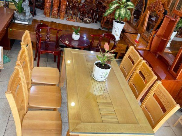 Bộ bàn ăn gỗ Bích mặt gõ 6 ghế 1m6 BA052 (5)