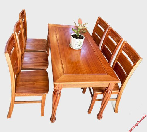 Bộ bàn ăn gỗ Xoan Đào chân vát 6 ghế 1m6 BA048 (1)