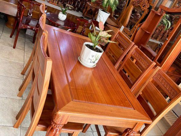Bộ bàn ăn gỗ Xoan Đào chân vát 6 ghế 1m6 BA048 (5)