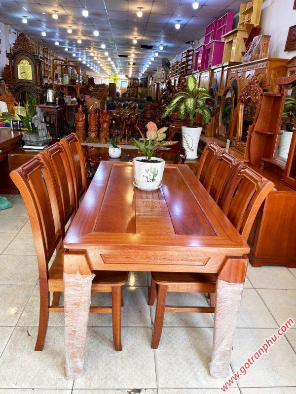 Bộ bàn ăn gỗ Xoan Đào kẻ 6 ghế 1m6 BA047 (2)