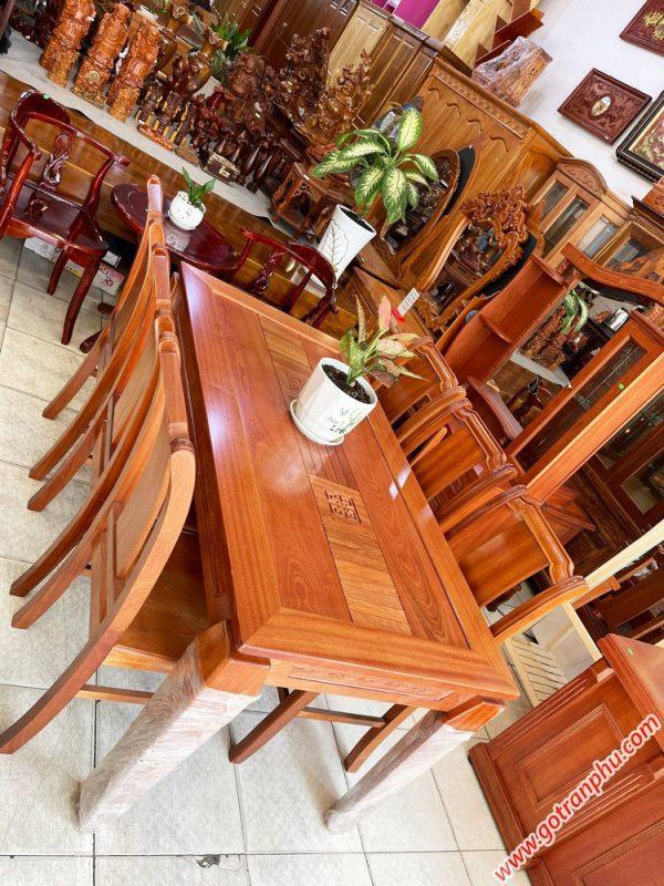 Bộ bàn ăn gỗ Xoan Đào kẻ 6 ghế 1m6 BA047 (3)