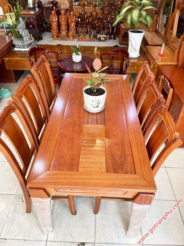 Bộ bàn ăn gỗ Xoan Đào kẻ 6 ghế 1m6 BA047 (4)