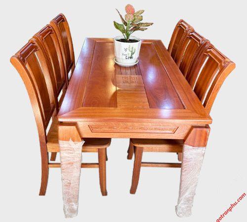 Bộ bàn ăn gỗ Xoan Đào kẻ 6 ghế 1m6 BA047