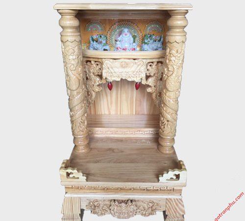 Trang thờ ông địa gỗ Thông có đèn cột tròn OD048-49 (1)