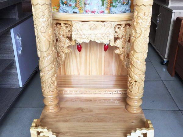 Trang thờ ông địa gỗ Thông có đèn cột tròn OD048-49 (3)