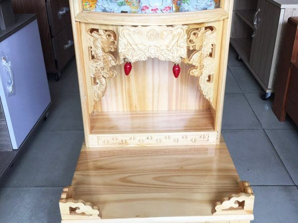 Trang thờ ông địa gỗ Thông có đèn không cột OD050-51 (5)