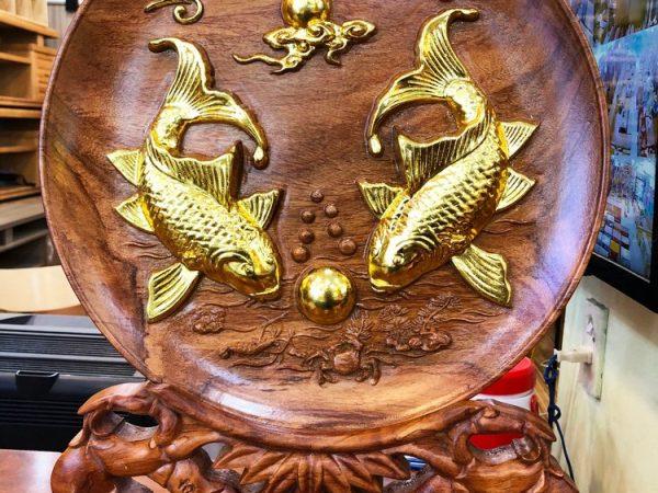 Tranh dĩa cá chép đường kính 35cm gỗ Cẩm TG028 (1)