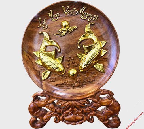 Tranh dĩa cá chép đường kính 35cm gỗ Cẩm TG028 (3)