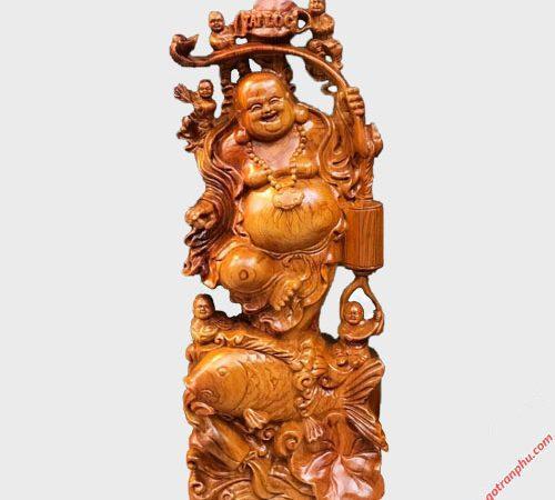 Tượng Phật Di Lặc gỗ Hương 60cm TG031 (2)