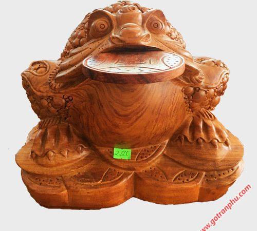Tượng cóc ngậm tiền gỗ Hương TG010 (4)