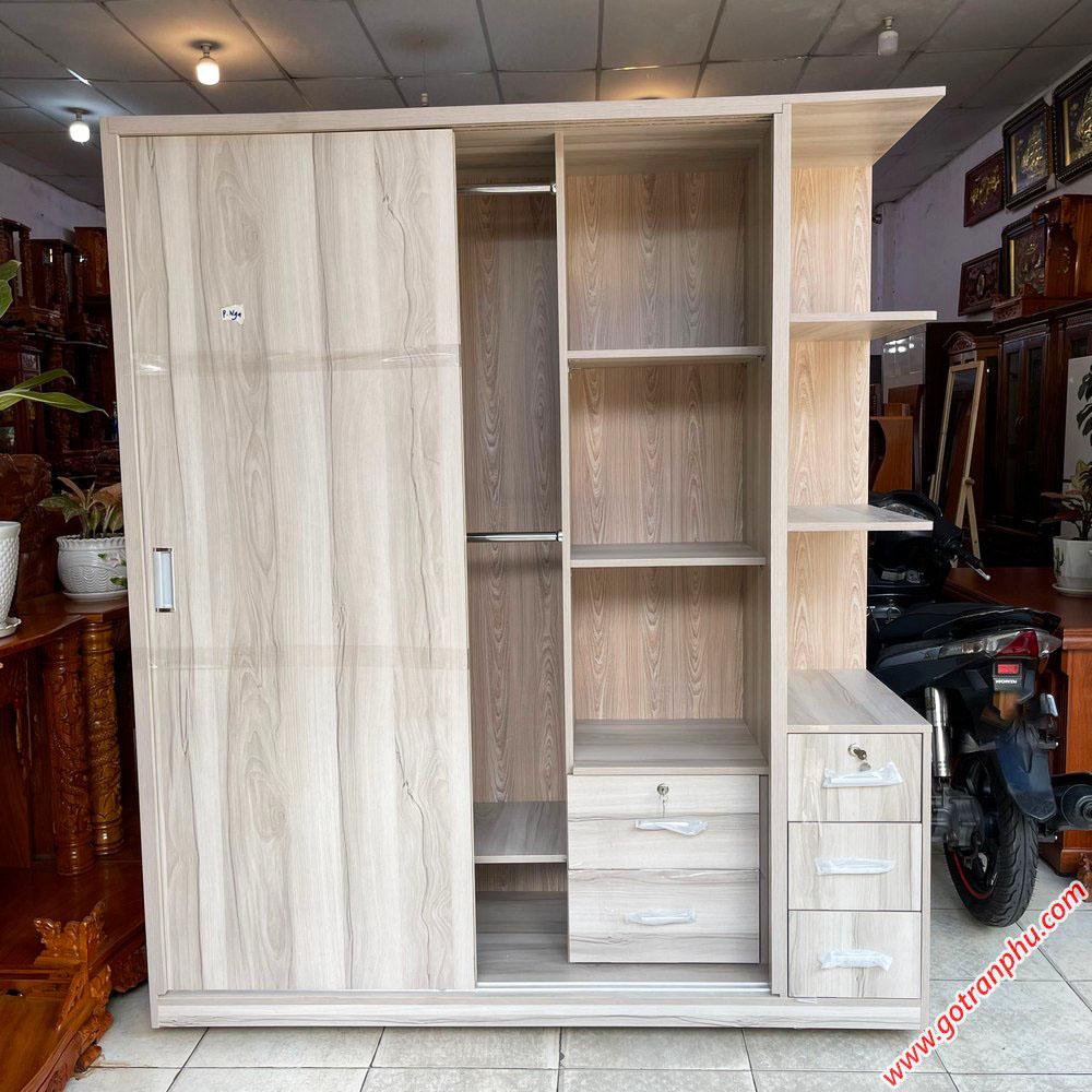 Tủ quần áo gỗ MFC cửa lùa kệ góc 1m6 TA066 (1)