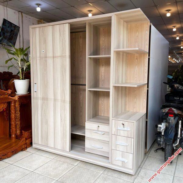 Tủ quần áo gỗ MFC cửa lùa kệ góc 1m6 TA066 (2)
