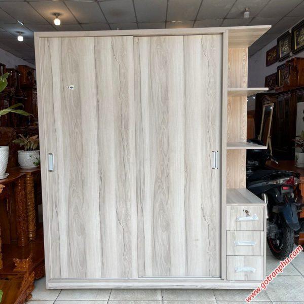 Tủ quần áo gỗ MFC cửa lùa kệ góc 1m6 TA066 (3)