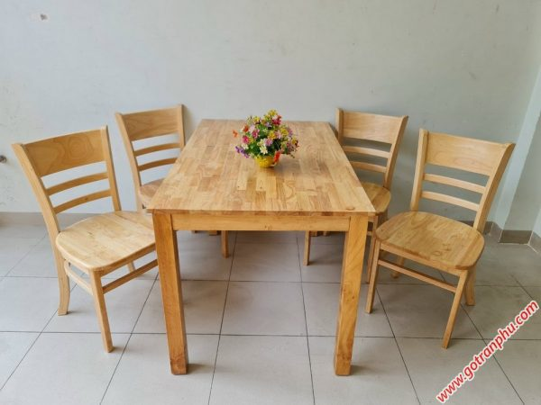 Bàn ăn Cabin 4 ghế veneer BA003 (1)